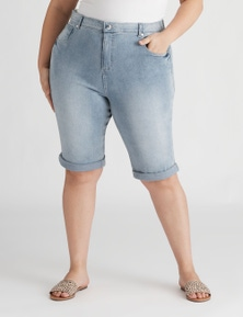 Beme Knee Length Rolled Up Denim Short