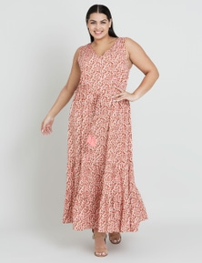 Beme Drawstring Print Maxi Dress