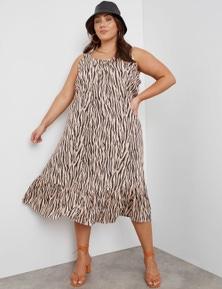 Beme Sleeveless Pintuck Linen Midi Dress