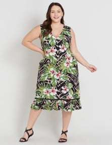 Beme Sleeveless Ruffle Hem Shift Dress