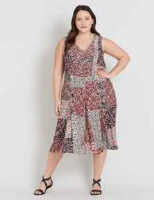 Beme Sleeveless Pintuck Midi Dress