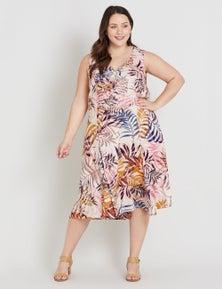 Beme Sleeveless Pintuck Midi Dress