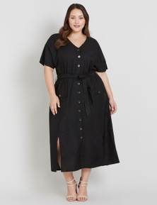 Beme Button Through Midi Dress
