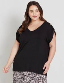 Beme Short Sleeve Tab Detail Tunic