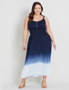 Beme Sleeveless Shirred Detail Midi Dress