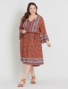 Beme 3/4 Sleeve Gypset Print Dress