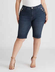 Beme Knee Length Denim Button Short