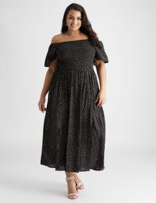 Beme Midi Length Shirred Front Dress