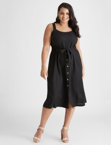 Beme Linen Blend Button Midi Dress