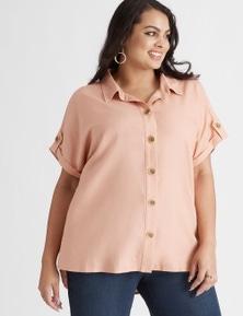 Beme Linen Blend Button Up Shirt