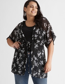 Beme Tie Waist Printed Kimono