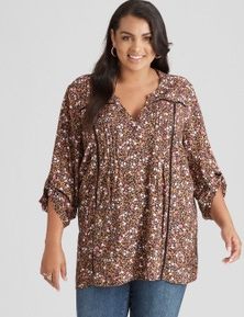 Beme 3/4 Sleeve Pintuck Tunic Shirt