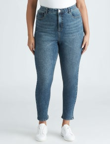 Beme High Rise Mid Wash Jean