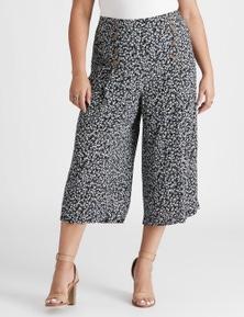 Beme Crop Button Front Printed Pant