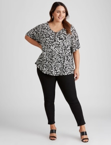 Beme Extended Sleeve Mixed Media Top