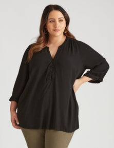 Beme Long Sleeve Tunic Button Up Shirt