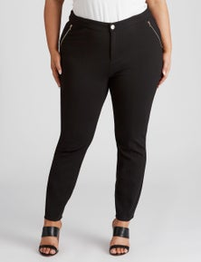 Beme Zip Detail Ponte Skinny Pant