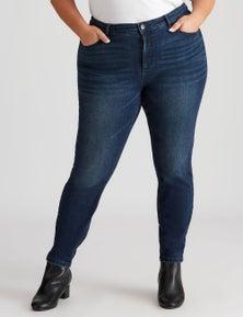 Beme Mid Rise Skinny Midnight Blue Wash Jean