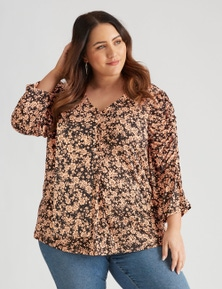 Beme Rouched Elbow Sleeve Top