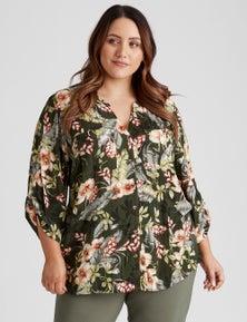 Beme 3/4 Sleeve Crinkle Shirt