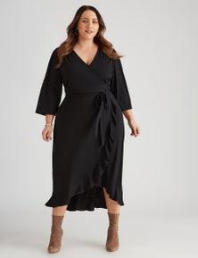Beme Stetch Frill Wrap Dress
