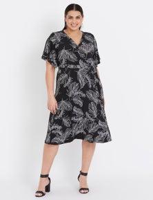 Beme Short Sleeve Wrap Leaf Midi Dress