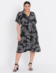 Beme Short Sleeve Wrap Leaf Midi Dress
