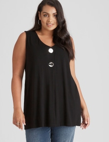 Beme Sleeveless Button Front Tunic Top