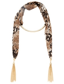 FABRIC AND TASSEL WRAP NECKLACE