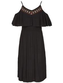 Crossroads Embroidered Midi Dress