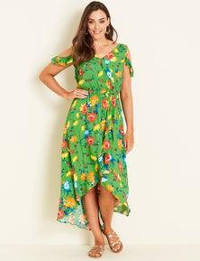 Crossroads Frill Floral Maxi Dress