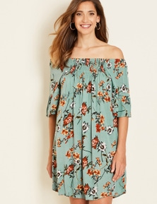 Crossroads Short Sleeve Floral Dress