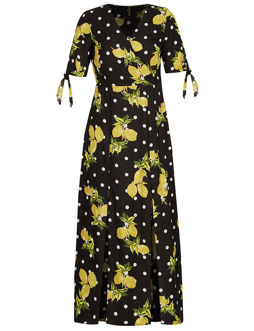 Crossroads Lemon Maxi Dress Front Leg Splits Short Sleeves With Ties Size 16