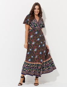 Crossroads Folk Floral Wrap Dress