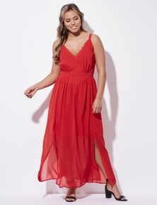 Crossroads Lace Trim Maxi Dress