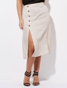 Crossroads Button Side Linen Skirt