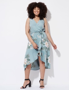 Crossroads Tropical Wrap Dress