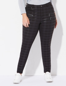 Crossroads Check Zip Ponte Pants