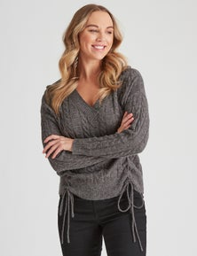 Crossroads V Neck Lace Up Cable Knit