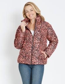 Crossroads Animal Pink Puffer Jacket