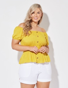 Crossroads Shirred Waist Button Top