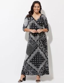 Crossroads 3/4 Sleeve Wrap Maxi Dress