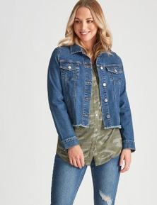 Crossroads Fray Hem Denim Jacket