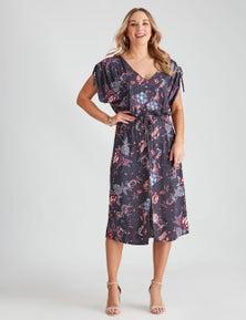 Crossroads Drawstring Buttn Dress