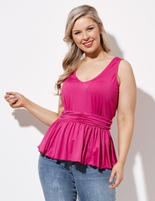 Crossroads Ruched Waist Sleeveless Top
