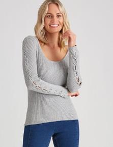 Crossroads Lace Sleeve Knit Top Jumper