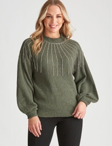 Crossroads Diamante Tassle Knit