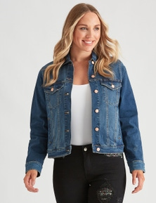 Crossroads Rose Button Denim Jacket