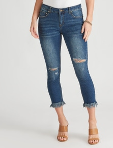 Crossroads Slash Raw Hem Skinny Jean