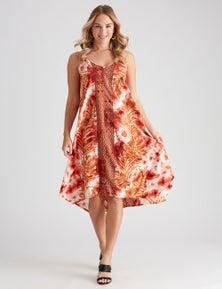 Crossroads Tie Shoulder Block Cut Maxi Dress